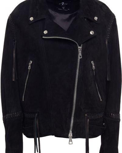 Замшевая кожаная куртка - черная 7 For All Mankind