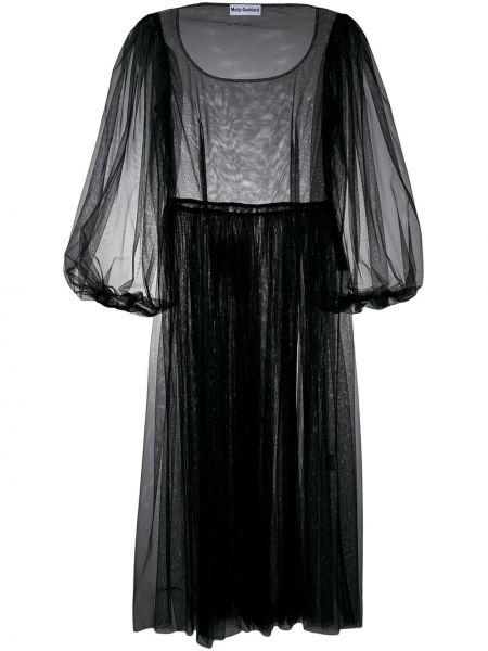 Платье миди черное приталенное Molly Goddard