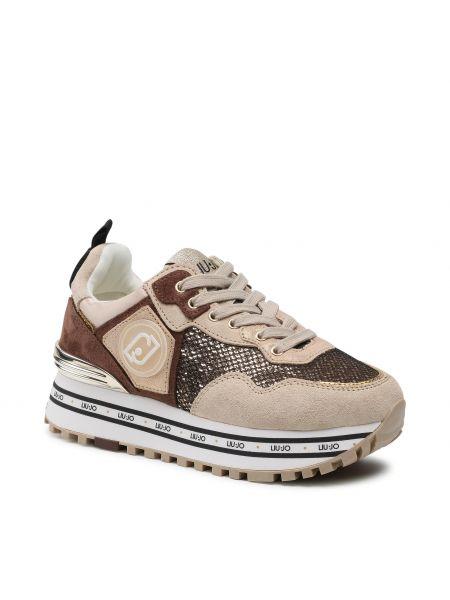 Sneakersy na koturnie skorzane - żółte Liu Jo