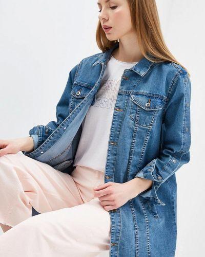 Джинсовая куртка весенняя синий Zizzi