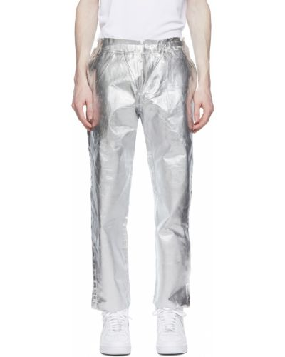 Białe spodnie srebrne Comme Des Garcons Homme Plus