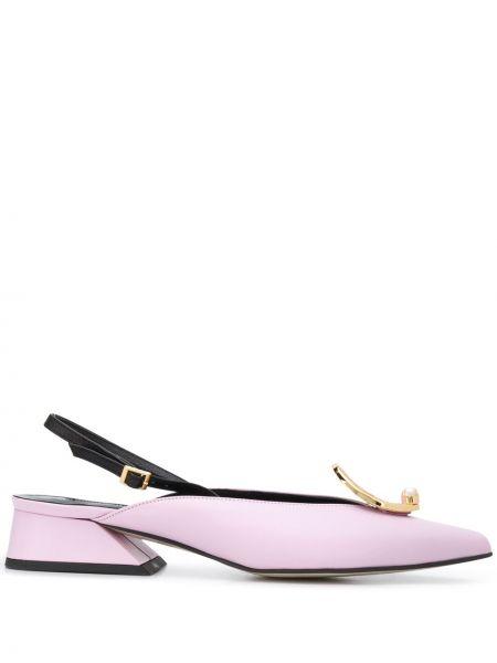 Фиолетовые сатиновые туфли-лодочки с острым носом с пряжкой Yuul Yie