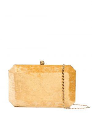 Золотистая желтая шелковая сумка на цепочке с карманами Tyler Ellis