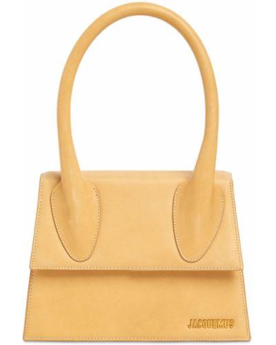 Кожаная коричневая сумка с подкладкой Jacquemus