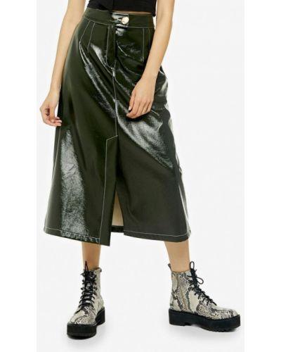 Кожаная юбка хаки Topshop