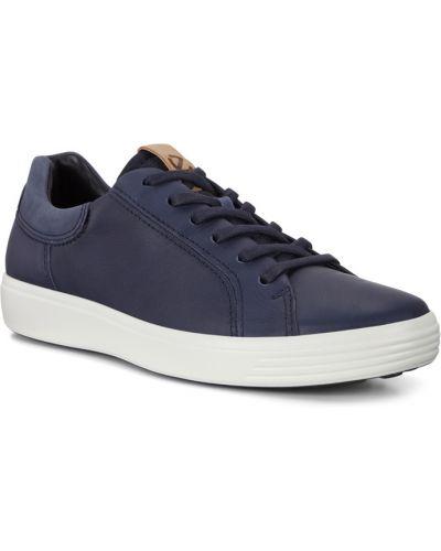 Синие кожаные кеды на шнурках Ecco
