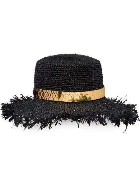 Złoty czarny kapelusz Prada