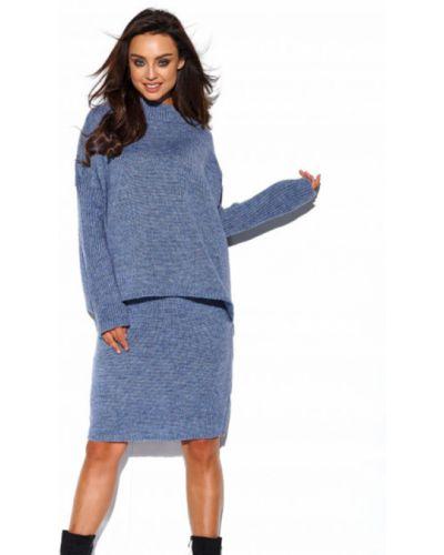 Długa spódnica wełniana - niebieska Lemoniade
