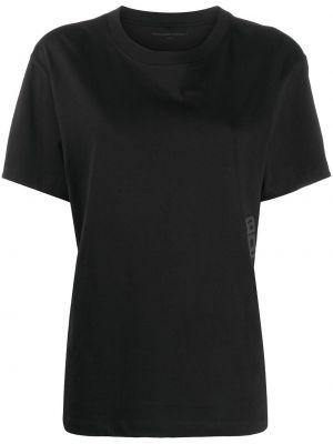 Хлопковая прямая черная футболка с круглым вырезом T By Alexander Wang