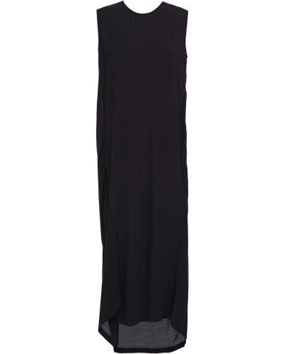 Плиссированное шифоновое черное платье миди Mcq Alexander Mcqueen