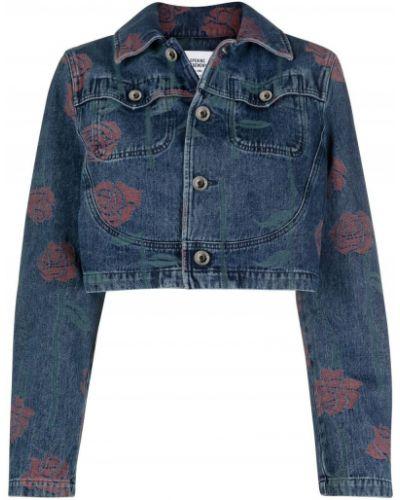 Синяя джинсовая куртка с нашивками с воротником Opening Ceremony