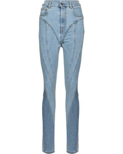 Ватные хлопковые синие джинсы Mugler