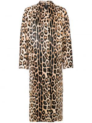 Коричневое шерстяное пальто с капюшоном Liska