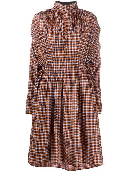 Pomarańczowa sukienka długa rozkloszowana z długimi rękawami Cedric Charlier