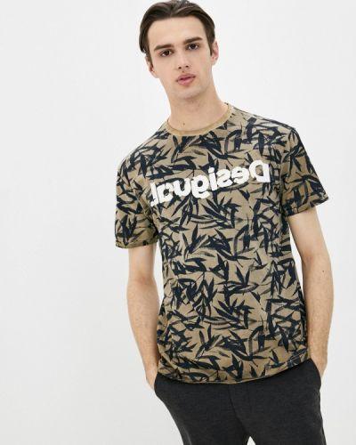 Коричневая футболка с короткими рукавами Desigual