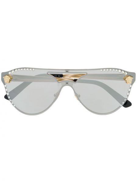 Золотистые желтые солнцезащитные очки металлические оверсайз Versace Eyewear