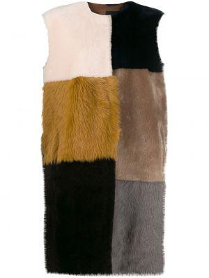 Кожаное пальто без рукавов с вырезом из овчины с капюшоном Liska