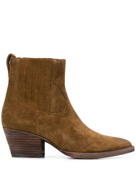 Brązowy zamsz kowboj buty z ostrym nosem Ash