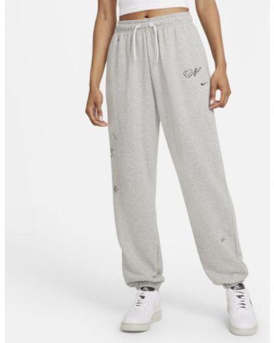 Szare spodnie dresowe materiałowe Nike