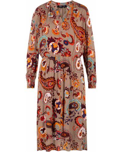 Платье миди с длинными рукавами Bonprix