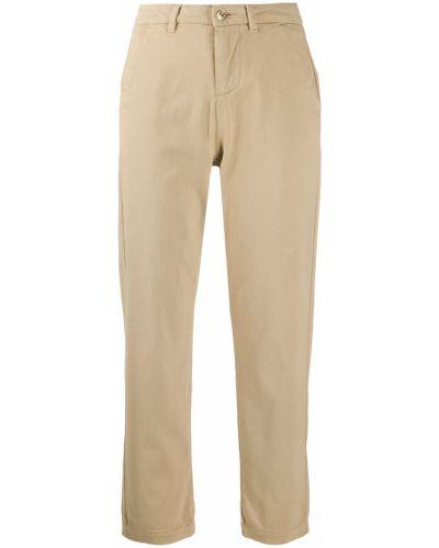 Прямые хлопковые укороченные брюки на молнии 7 For All Mankind