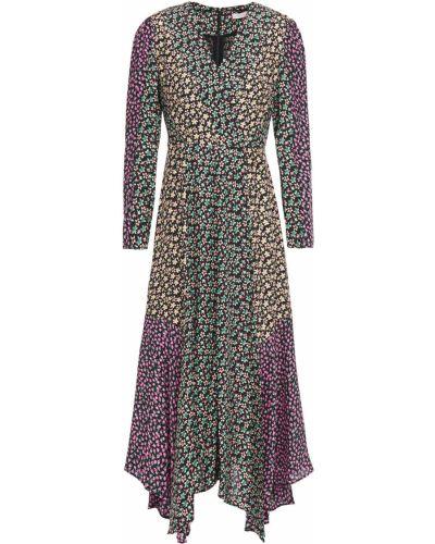 Czarna sukienka midi kopertowa z jedwabiu Rebecca Taylor