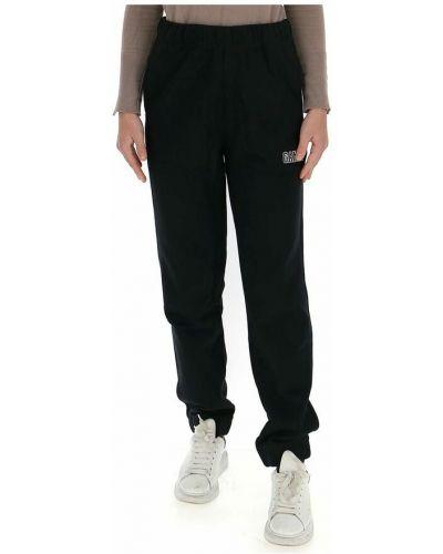 Czarne spodnie z haftem Ganni