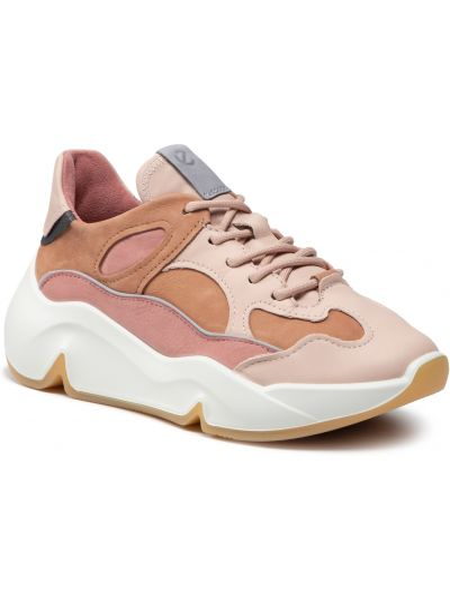 Buty sportowe skorzane - różowe Ecco