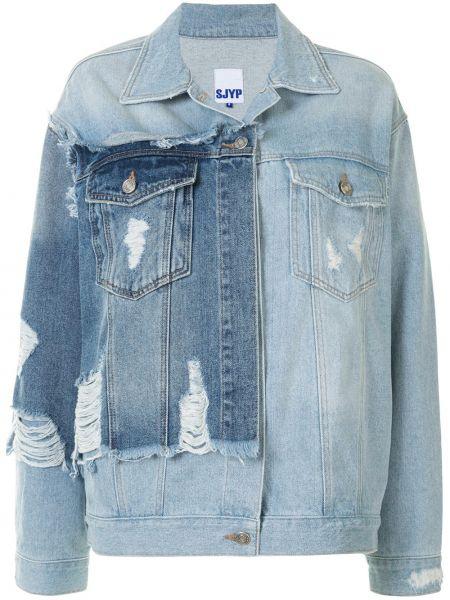 Хлопковая синяя джинсовая куртка с воротником Sjyp