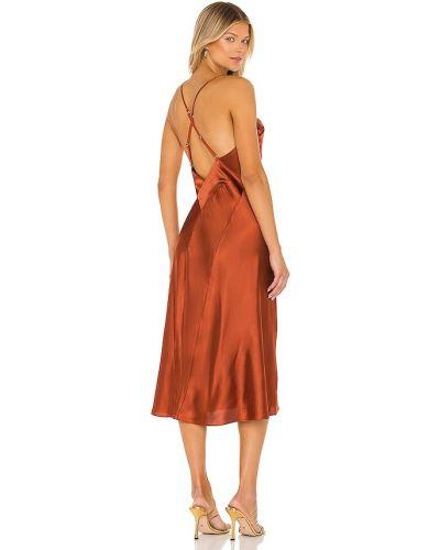 Satynowa sukienka midi z siateczką Hah