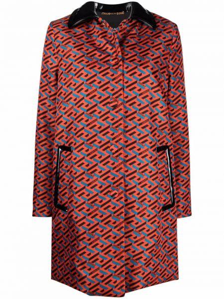 Оранжевое пальто на пуговицах Versace