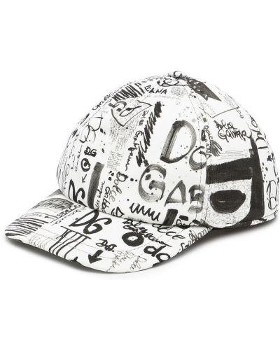 Biała czapka z daszkiem Dolce & Gabbana Kids