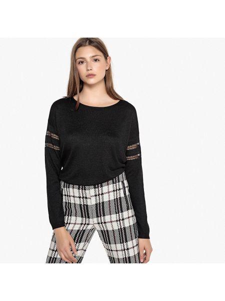 Черный акриловый пуловер круглый с круглым вырезом Sud Express