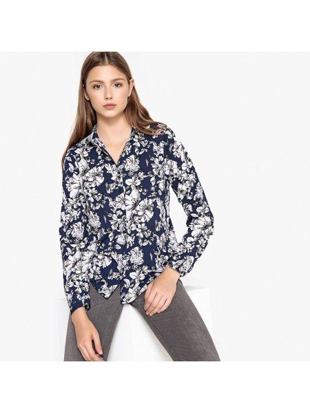 Темно-синяя блузка с длинным рукавом с воротником свободного кроя с рисунком Best Mountain