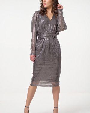 Платье миди с V-образным вырезом с поясом Fly