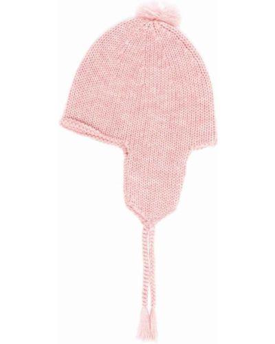 Czapka z pomponem wełniana - różowa Bonpoint