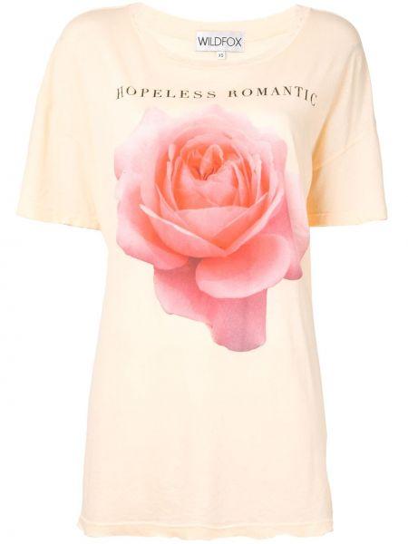 Pomarańczowy t-shirt bawełniany z printem Wildfox