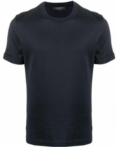 Прямая хлопковая синяя футболка Ermenegildo Zegna