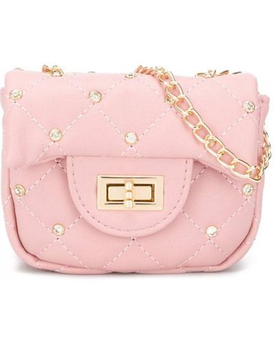 С ремешком розовая сумка со стразами Monnalisa