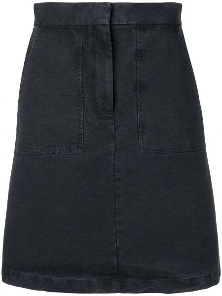 Синяя с завышенной талией юбка мини на молнии с поясом Masscob