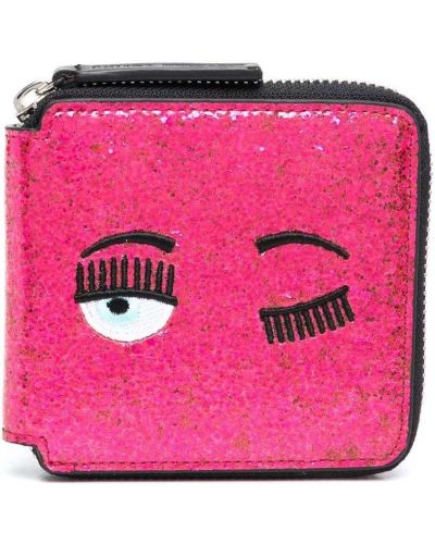 Розовый кожаный кошелек с карманами Chiara Ferragni Kids