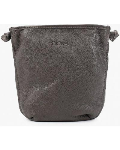 Кожаная сумка через плечо серая Shoiberg
