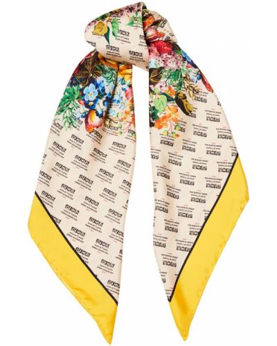 Шарф с цветочным принтом шелковый Gucci