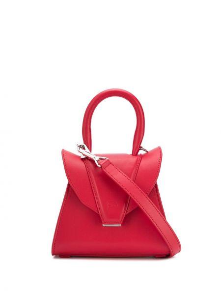 Красная кожаная сумка круглая металлическая Elena Ghisellini