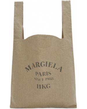 Brezentowy biały torba na zakupy z łatami z kieszeniami Maison Margiela
