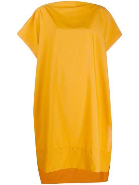 Желтое платье мини с воротником свободного кроя с короткими рукавами Issey Miyake