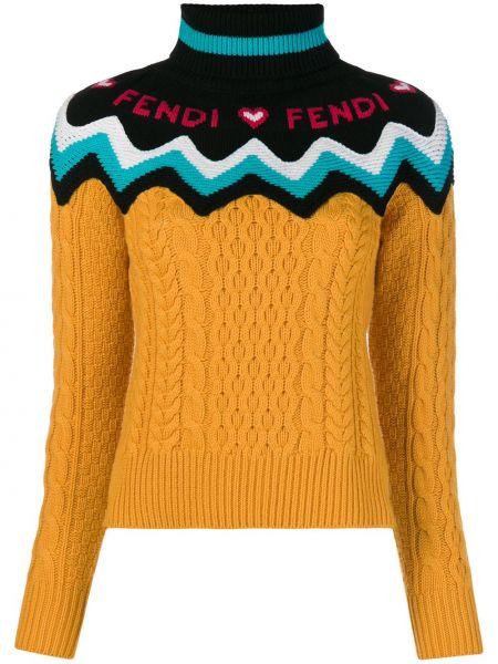 Кашемировый свитер - желтый Fendi