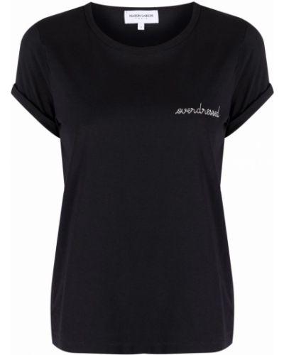 Хлопковая футболка - черная Maison Labiche