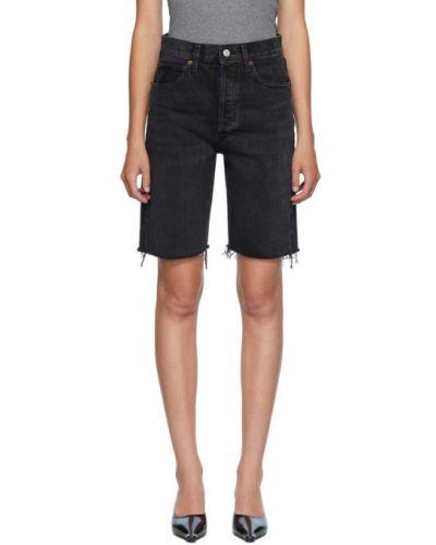 Niebieski mało jeansy z kieszeniami przycięte Agolde