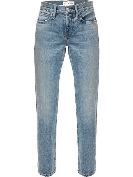 Хлопковые синие прямые джинсы с карманами на пуговицах Slvrlake